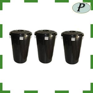 Cubos grandes de plástico negro 100 l