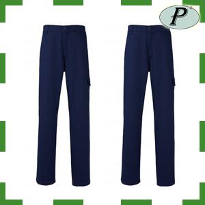 Pantalones de trabajo azul marino de algodón