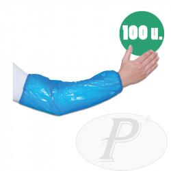 Manguitos desechables de polietileno azules