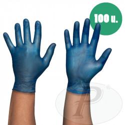 Guantes desechables vinilo azul con polvo