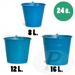 Cubos de plástico de 16l resistentes azules