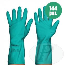 Guantes de nitrilo verdes flocados