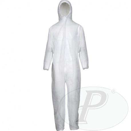 Buzos desechables polipropileno con capucha blancos