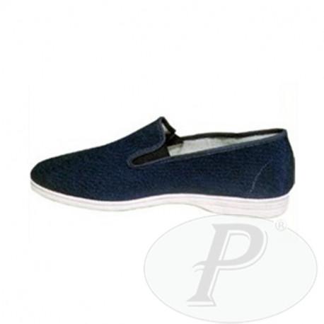 Zapatillas cangrejo de lona azul con goma