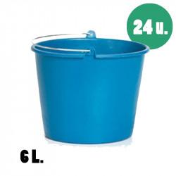 Cubos de plástico de 6 litros azules