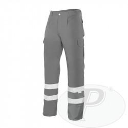 Pantalon gris bandas reflectantes multibolsillos