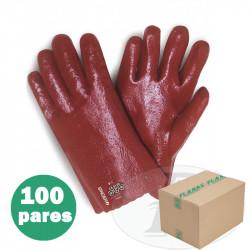 Guantes PVC 27cm rojos sobre soporte