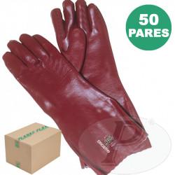 Guantes de PVC 40 cm rojos