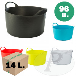 CAJA COMPLETA - Capazos de plástico de 14 l. de colores