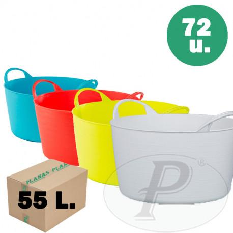 Capazos de plástico de 55 l. de colores