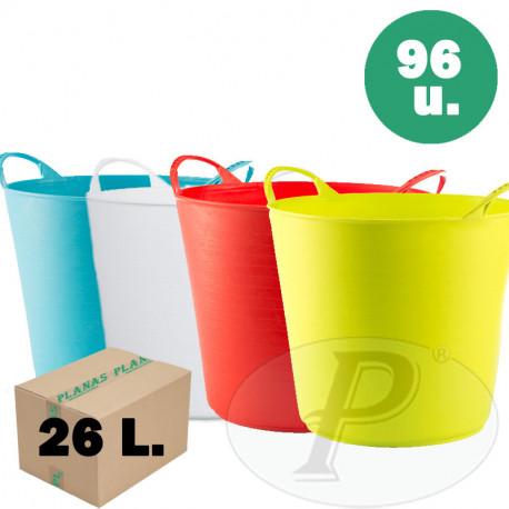 Capazos de plástico de 26 litros de colores