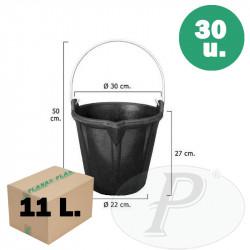 Cubos de goma negros de 11 litros