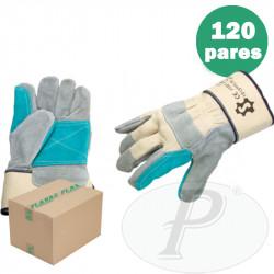 Guantes de serraje con refuerzo verde - 12p